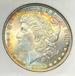 1883 Morgan Dollar ANACS MS64 Old Holder Gorgeous Two-Sided Toning CHN