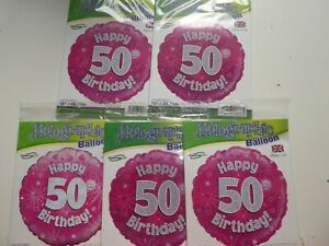 """JOB LOT 5 X 18"""" FOIL BALLOONS - NEW IN PACK HELIUM / AIR - AGE 50 50TH BIRTHDAY"""