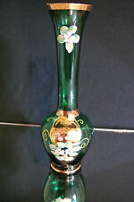 Antique Bohemian Glass Vase Hand Painted