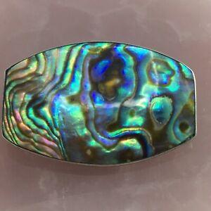 Ariki Ataahua Sterling Silver & Paua Shell Abalone Bulged Rectangle Brooch Pin