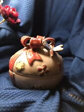 Dragon Fly Small Trinket Box Bow Ceramic Pottery Glazed cute vintage