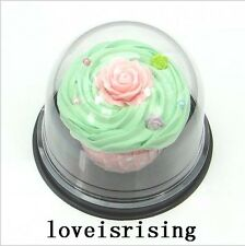 """25sets Clear Plastic 3""""Cupcake Cake Dome Favor Boxes Mini Cake Stand Container"""