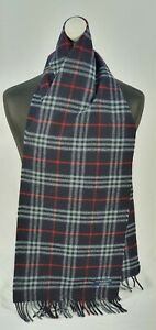 BURBERRY SCARF 100% LAMBSWOOL FOR MEN AND WOMEN MADE IN ENGLAND NAVY TH
