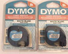 2 Dymo Letratag 91331 White Plastic Label Maker Refill Tape 12 Wide X 13ft L