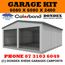 DONDEX Double Garage Shed Kit 6.08 x 6.08 x 2.4 Gable Zinc Roof Colorbond Walls