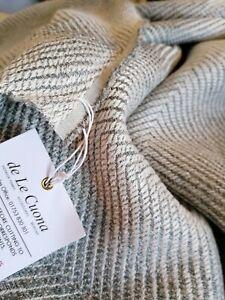 De le cuona linen blend PANEL Wolf -Timber Woven texture Ombre stripe 230x116cm