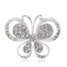 Plated Rhinestone Butterfly Brooch Pin Christmas New Wedding Jewelry White Golf