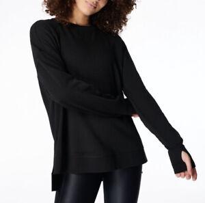 Sweaty Betty After Class Simhasana Sweatshirt Terry Long Sleeve Black Size Large