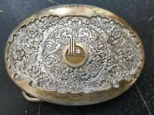 Vintage OC Tanner 14K Gold Emblem .07 Diamond Brass Belt Buckle IIL