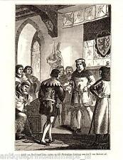 Adolf van Berg Hertogdom Limburg Jan I van Brabant houtgravure Antique print