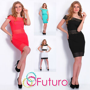 Cocktail Mini Dress Open Arms Bodycon Party Clubwear Tunic Sizes 8-14 FC1479