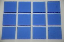 "1414.30 - 12 Transparent Light Sky Blue 1"" x 1"" Bullseye 3mm Thick Glass 90 Coe"