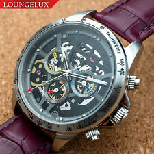Mens Automatic Mechanical Watch Date Day Watch Silver Black Purple Leather