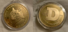 Dogecoin Doge 24kt Fine Gold-Plated Copper Coin Round Shibe Mint Crypto NEW
