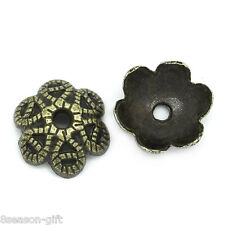 200 Gift PCs Bead End Caps Findings Flower Bronze Tone 9.5mmx9.5mm