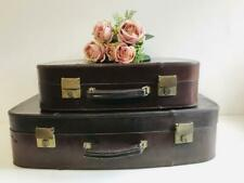 Pair of Vintage 1960s Genuine Leather Stacking Suitcases, Storage Solution, Prop