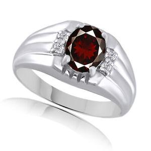 2.47 Ct Red Garnet & White Topaz Sterling Silver Mens Band Ring