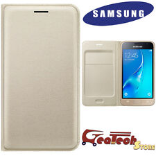 Custodia Flip Wallet Originale Samsung per Galaxy J5 2016 J510 Cover Pelle GOLD