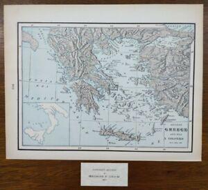 "Vintage 1902 ANCIENT GREECE COLONIES Map 14""x11"" ~ Old Antique Original ATHENS"