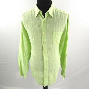 Tommy Bahama Linen Shirt Mens 1XB Big Tall Button Down Green
