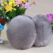 Gray Womens Girl Classic Ear Cover Winter Plush Fuzzy Faux Fur Warm Big Earmuff