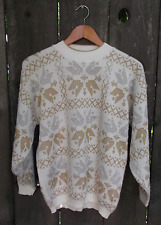 Vintage Snowflake Sweater Womens Rose USA Gold Silver Christmas Large 1980s 90s
