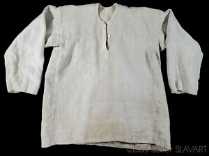 Antique hemp linen peasant shirt European Slavic historic clothing folk costume