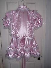 SISSY~MAIDS~ADULT BABY~UNISEX~CD/TV ~ LOCKABLE ~ HIGH NECK PINK SATIN DRESS