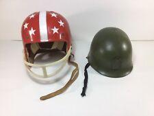 VINTAGE ORIGINAL 1960'S CHILD'S TOY PLASTIC ARMY & RED & WHITE FOOTBALL HELMET
