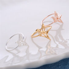 NEW Origami Paper Crane Silver Gold Rose Ring Band Wrap Bird Rings Jewelry Gift