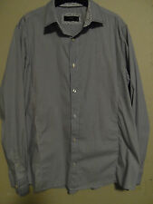 NEXT FITTED NAVY STRIPED SHIRT WITH NAVY FLORAL COLLAR SIZE XL