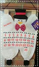 Personalised Fabric hanging snowman advent calendar any name
