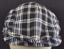 Navy Blue Plaid Design News Boy Paper boy Cabby hat cap adjustable snapback