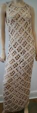 ALL SAINTS Beige Cotton ARGYLE MESH Loose Hand Crochet Maxi Dress UK14 BNWT