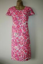 New Boden Size 16 Pink & White Fully Lined 100% Linen Shift Dress Bow & Buttons