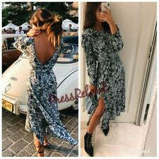 ZARA NEW FLORAL PRINT LONG FLOWING DRESS SIZE XS