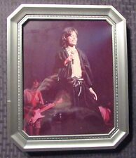"""Rolling Stones Mick Jagger w/ Microphone 8x10"""" Standee Framed Color Photo"""