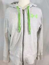 Under Armour Storm Womens Full Zip Light Gray Hoodie LARGE Green Logo SemiFitted