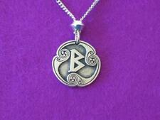 """Beorc, Viking Rune of Rebirth, Pewter Pendant, Norse Odin, 24""""chain"""