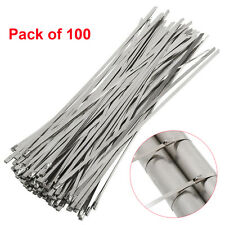 """100pcs 12"""" Strong Stainless Steel Grade Metal Self Locking Cable Ties Zip Wraps"""