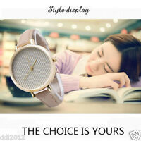 Fashion Womens Ladies Mesh Dial Leather Band Simple Analog Quartz Wrist Watches