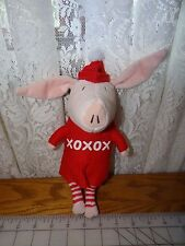 """Olivia The Pig Plush 11"""" Snow Day Red Winter Hat XOXO Valentine Christmas 2011"""