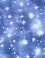 Christmas Fabric - Twinkling Stars C4967 Blue - Timeless Treasures YARD