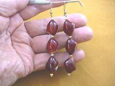 (EE-447-S) Orange white CARNELIAN three bead gemstone dangle gold hook earrings