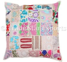 Indian Vintage Embroidered Pillow Case 22x22 Patchwork Home Decor Cushion Cover