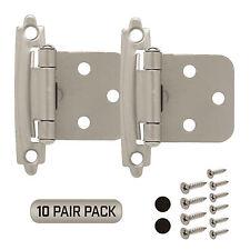 Cabinet Hinge 10 Pair Pack (20 Pcs) Self Closing Face Mount Overlay Satin Nickel