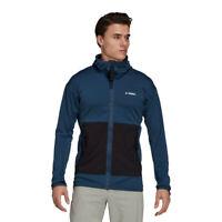 adidas Mens Terrex Flooce LT Hooded Jacket Top Blue Sports Outdoors Full Zip