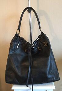 Lucky Brand Purse Handbag Slouchy Hobo Tote Black Leather