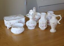 SALISBURY Dressing Table Decorative Set Of 7 Blossom Pink Flower Bone China