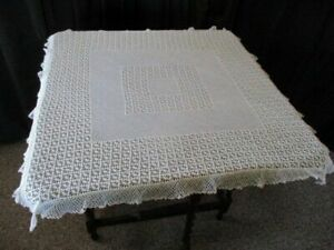 VINTAGE TABLECLOTH ALL HAND CROCHET - WHITE - 32sq.